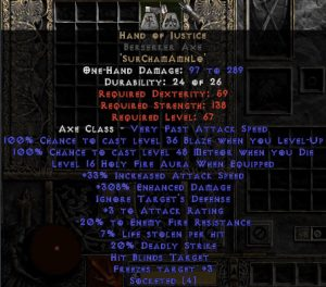 Hand of Justice Berserker Axe - 280-329% ED