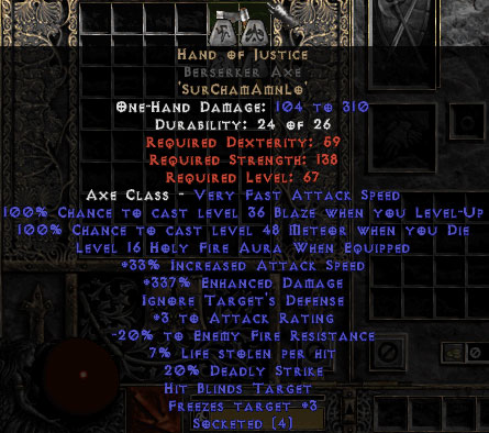 Hand of Justice Berserker Axe - 330-344% ED
