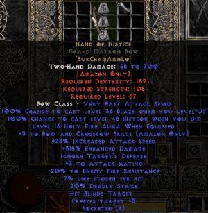 Hand of Justice Grand Matron Bow - 3 B&C - 280-329% ED