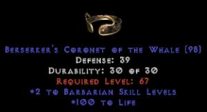 -+2 Barbarian Skills/100 Life Diadem/Tiara/Circlet - 2 Socket