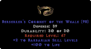 -+2 Barbarian Skills/100 Life Diadem/Tiara/Circlet - 0 Socket