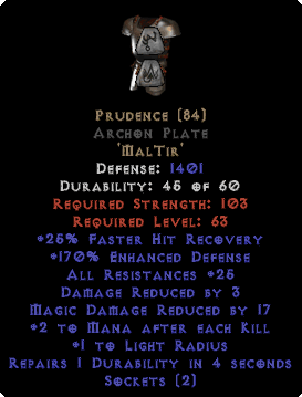 Prudence Archon Plate - 170% ED & 25-34 Res