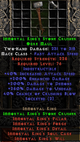 Immortal King's Stone Crusher - 40% CB - Perfect