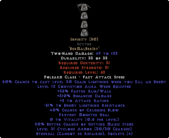 Infinity Scythe - Ethereal - 295-324% ED & -45-54% ELR