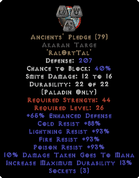 Ancients' Pledge Akaran Targe - 45 All Res & 15% ED Base