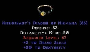 -+2 Druid Skills/30 Dex Diadem/Tiara/Circlet - 0 Socket