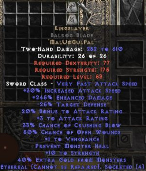 Kingslayer Balrog Blade - Ethereal - 230-264% ED