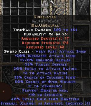 Kingslayer Balrog Blade - Ethereal - 265-284% ED