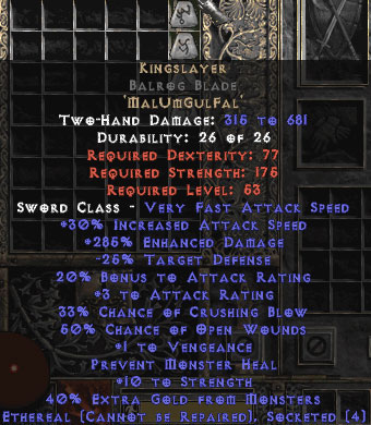 Kingslayer Balrog Blade - Ethereal - 285% ED - Perfect - 15/3 Base