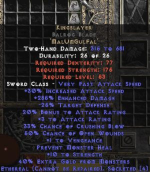 Kingslayer Balrog Blade - Ethereal - 285% ED - Perfect