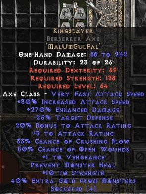Kingslayer Berserker Axe - 265-284% ED