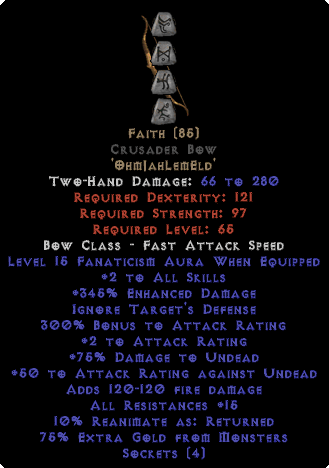 Faith Crusader Bow - 2 Skills & 15 Fanat & 345% ED - Perfect