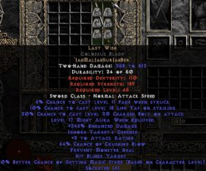 Last Wish Colossus Blade - 330-359% ED & 60-64% CB