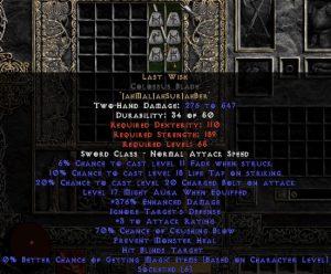 Last Wish Colossus Blade - 360-374% ED & 65-69% CB