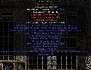 Last Wish Berserker Axe - 330-359% ED & 65-69% CB