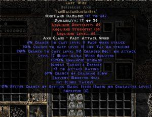 Last Wish Berserker Axe - 390% ED & 65-69% CB - 15% ED Base