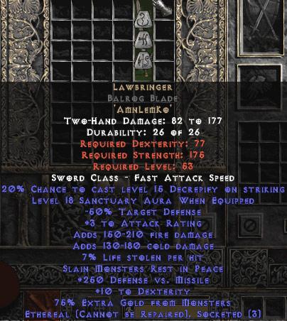 Lawbringer Balrog Blade - Ethereal - 18 Sanctuary & 250 DvM