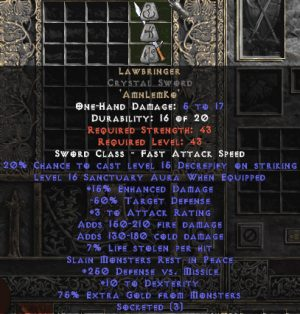 Lawbringer Crystal Sword - 16-17 Sanctuary & 250 DvM