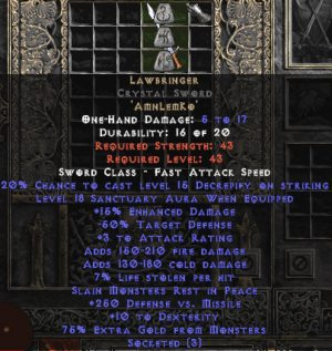 Lawbringer Crystal Sword - 18 Sanctuary & 250 DvM - 15% ED Base