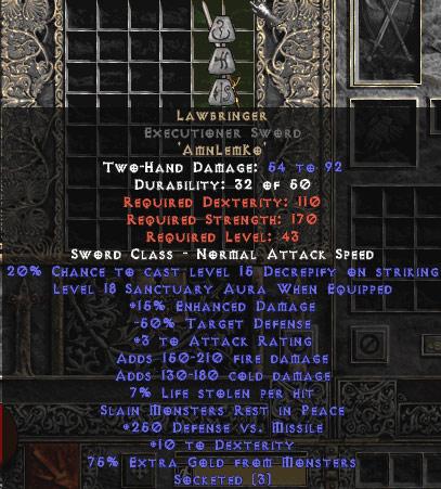 Lawbringer Executioner Sword - 18 Sanctuary & 250 DvM - 15% ED Base