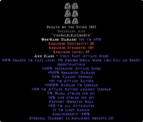 Breath of the Dying Berserker Axe - Ethereal - 15% LL