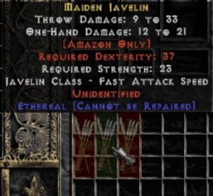 10x Unid Rare Maiden Javelin Ethereal