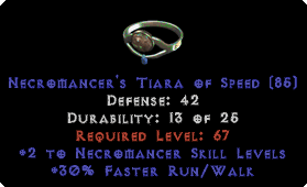 -+2 Necromancer Skills/30% FRW Diadem/Tiara/Circlet - 0 Socket