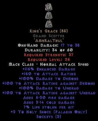 King's Grace Grand Scepter - 0-14% ED Base