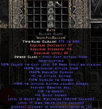 Oath Balrog Blade - Ethereal - 355% ED & 15 MA - Perfect - 15% ED Base