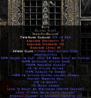 Oath Balrog Blade - Ethereal - 355% ED & 15 MA - Perfect - 15/3 Base