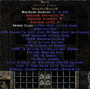 Oath Cryptic Sword - Ethereal - 355% ED & 15 MA - Perfect - 15/3 Base