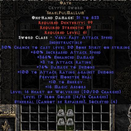 Oath Cryptic Sword - Ethereal - 355% ED & 15 MA - Perfect - 15/3 Base