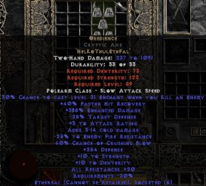 Obedience Cryptic Axe - Ethereal - 200-299 Defense & 20-29% All Resist