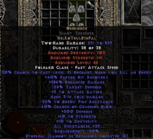 Obedience Giant Thresher - Ethereal - 300 Defense & 20-29% All Resist - 15% ED Base