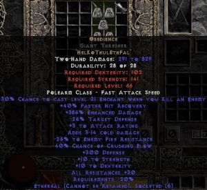 Obedience Giant Thresher - Ethereal - 300 Defense & 30% All Resist - 15% ED Base