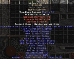 Obedience Great Poleaxe - Ethereal - 200-299 Defense & 30% All Resist