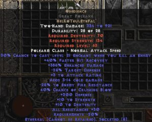 Obedience Great Poleaxe - Ethereal - 300 Defense & 30% All Resist - 15/3 Base