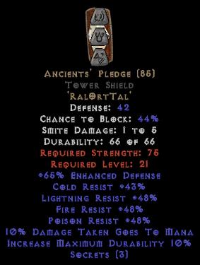 Ancients' Pledge Tower Shield - Base 15% ED