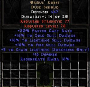 Ormus' Robes - 15% to Lightning & +3 Chain Lightning