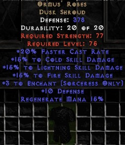 Ormus' Robes - 15% to Fire & +3 Enchant