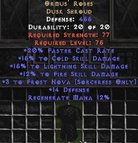 Ormus' Robes +15% to lightning and cold skills