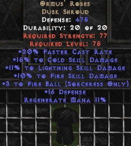 Ormus' Robes +15% to cold skill