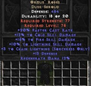 Ormus' Robes +15% to fire skill
