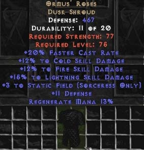 Ormus' Robes +15% to lightning skill
