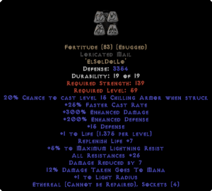 Fortitude Loricated Mail - Eth Bugged - 25-29 Res & 1-1.375 Life