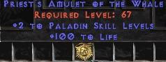 Paladin Amulet - 2 All Pal Skills & 100 Life
