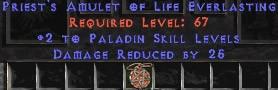Paladin Amulet - 2 All Pal Skills & 25 PDR