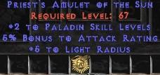 Paladin Amulet - 2 All Pal Skills & 5% AR