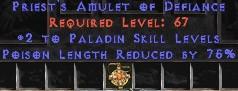 Paladin Amulet - 2 All Pal Skills & 75% PLR