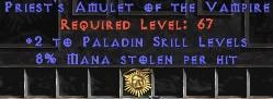 Paladin Amulet - 2 All Pal Skills & 8% ML